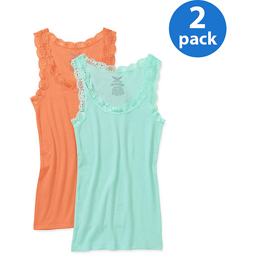 Faded Glory Women's Plus-Size Lace Trim Ribbed Tank, 2 pack