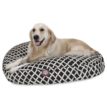 Majestic Pet Bamboo Round Dog Bed Treated Polyester Removable Cover Bl