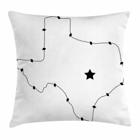 Control Map - Texas Star Throw Pillow Cushion Cover, USA State Map with Barbed Wire Pattern Monochrome Border Control Image, Decorative Square Accent Pillow Case, 18 X 18 Inches, Black and White, by Ambesonne