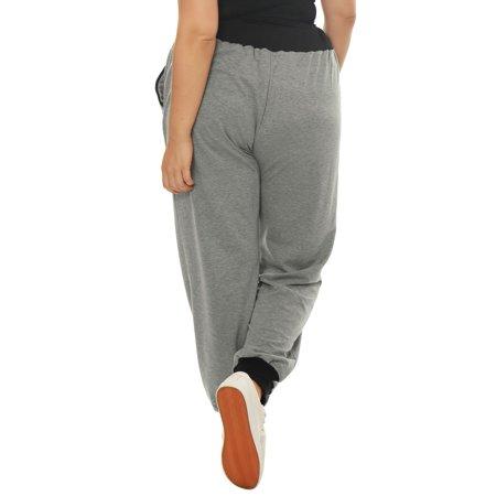 Women Plus Size Drawstring Waist Contrast Color Jogger Pants Gray 2X - image 3 de 7