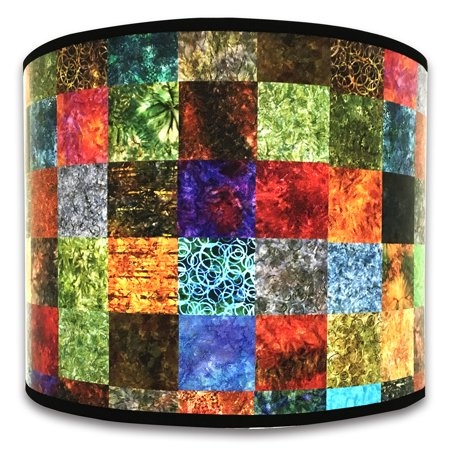 Royal Designs Modern Trendy Decorative Handmade Lamp Shade - Made in USA - Colorful Square Patchwork Design - 10 x 10 x 8