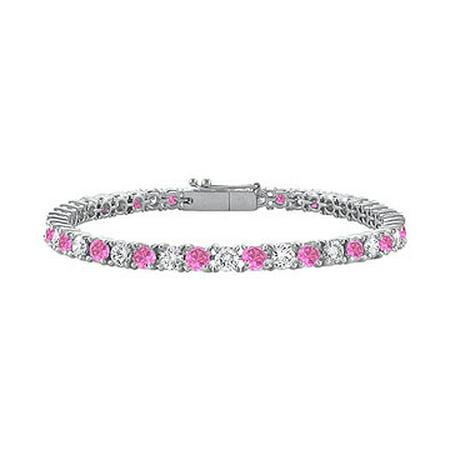 Created Pink Sapphire and Cubic Zirconia Prong Set 10K White Gold Tennis Bracelet 4.00 CT TGW - image 1 de 2