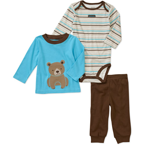 Child of Mine by Carters Newborn Boys' 3 Piece Bear Tee's and Pant Set