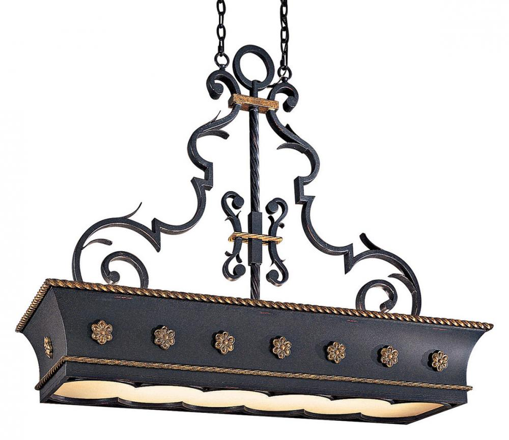 French Black 12 Light 1 Tier Linear Chandelier From The Montparnasse Collection by Metropolitan