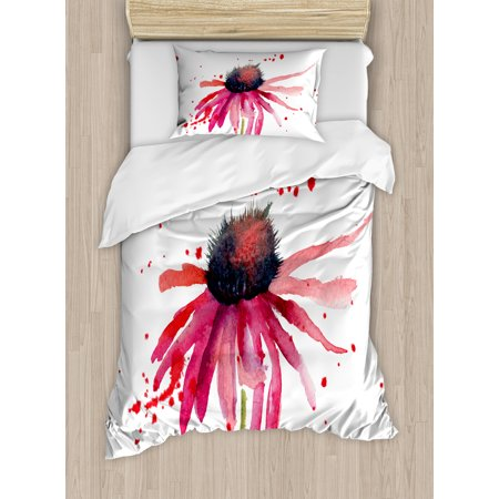 Watercolor Twin Size Duvet Cover Set, Summer Wildflower Blowing in the Wind Red Spotted Background Nature Inspired, Decorative 2 Piece Bedding Set with 1 Pillow Sham, Pink Black, by - Windy Background