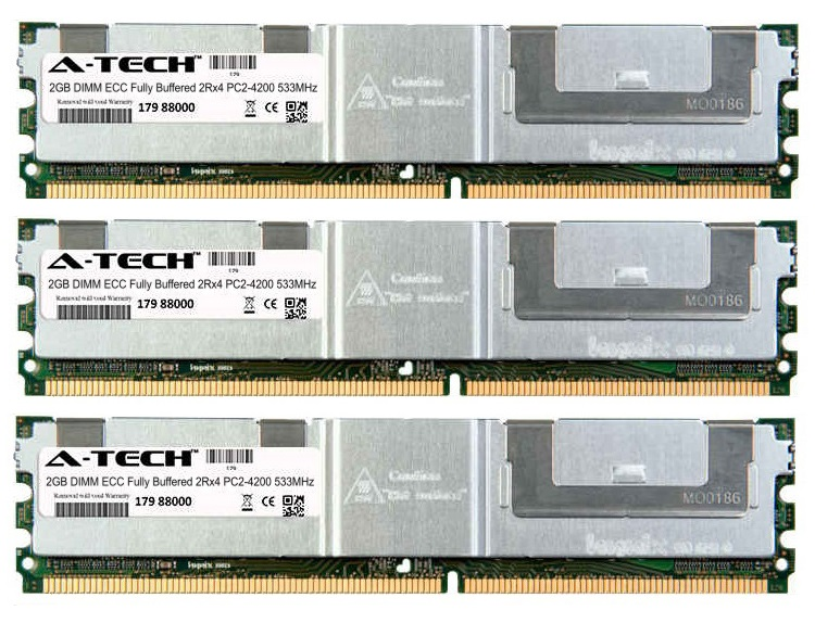 6GB Kit 3x 2GB Modules PC2-4200 533MHz 2Rx4 ECC Fully Buffered DDR2 DIMM Server 240-pin Memory Ram