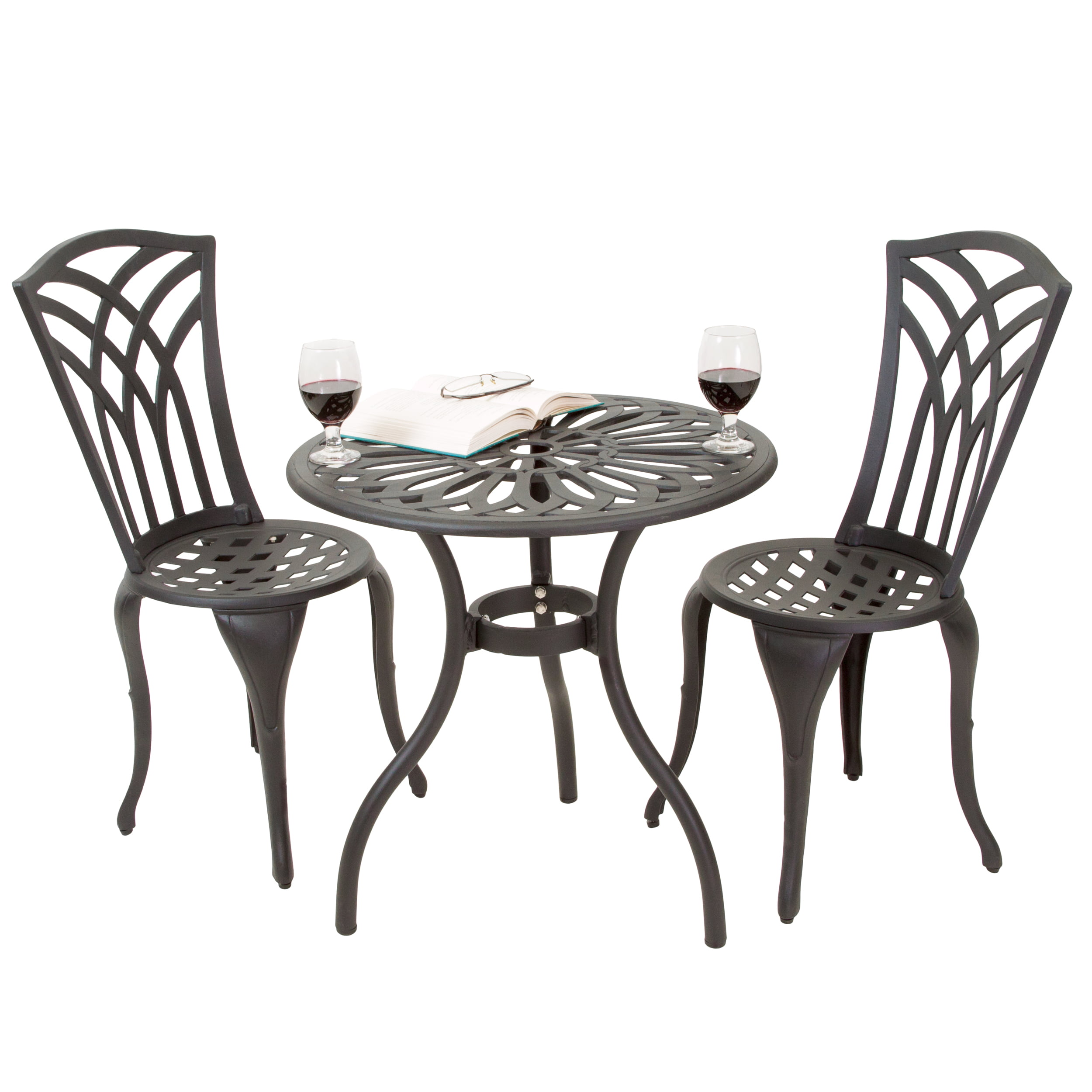 3 Piece Cast Aluminum Outdoor Bistro Set by GDF Studio