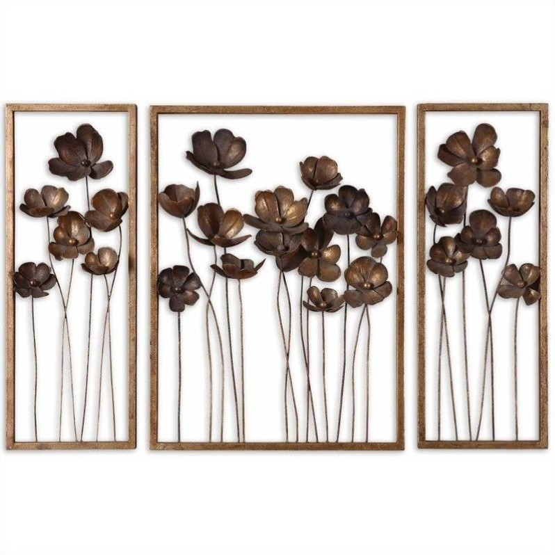 Uttermost Metal Tulips Wall Art in Antiqued Gold (Set of 3)