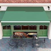 GARTIO 137.7'' × 118'' Retractable Patio Awning Window Deck Sun Shade W/ Crank Handle - Green