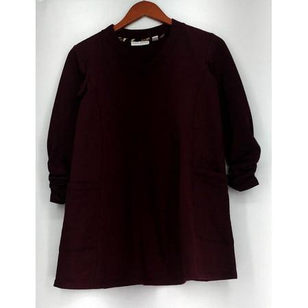Susan Graver Top Sz XXS French Terry V-Neck Tunic Burgundy Red A219139