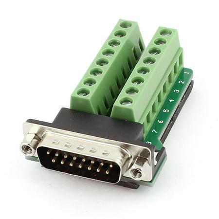 DB15 15broche D-SUB Male Adaptateur Plaque RS232 Borne Connecteur imprimé - image 2 de 2