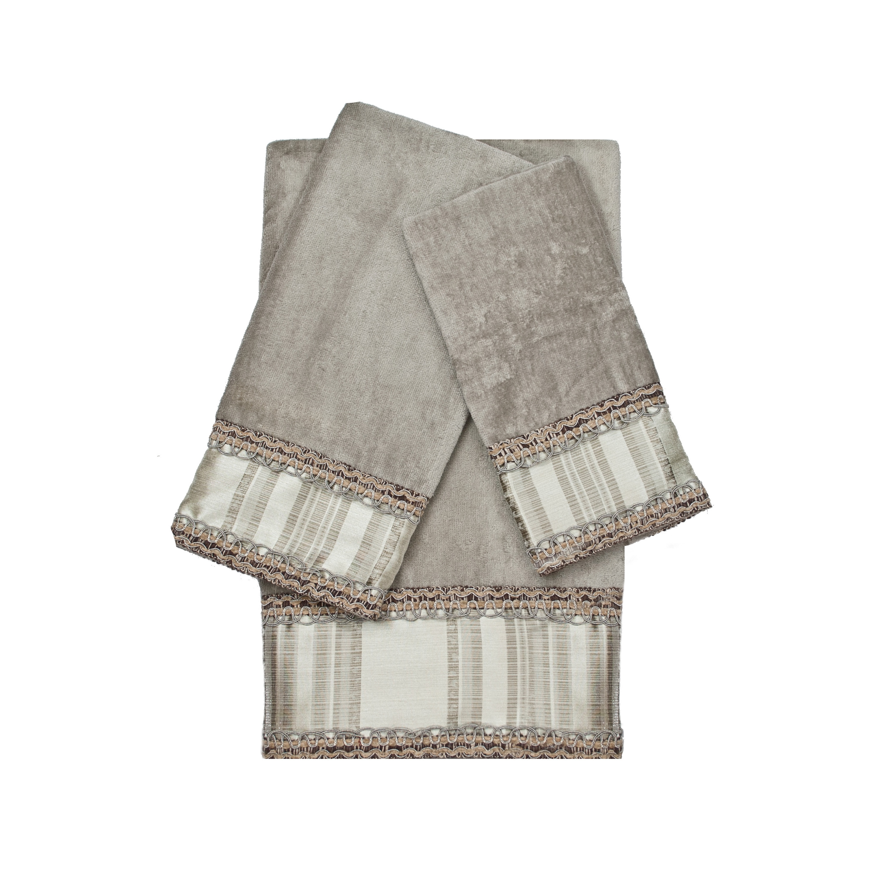 Sherry Kline  Norwood Stripe Grey 3-piece Decorative Embellished Towel Set