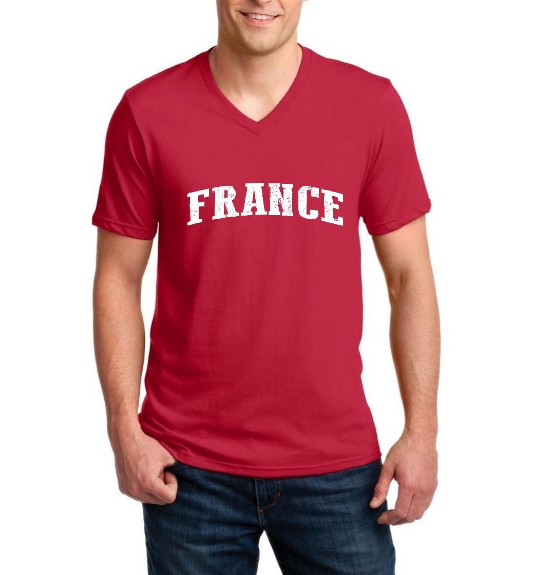 France French Men V-Neck Shirts Ringspun