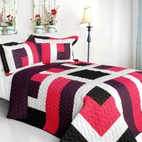 City of Wine - 3 Pieces Vermicelli-Quilted Patchwork Quilt Set  Full & Queen Size - Multicolor