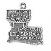 Sterling Silver Louisiana State Charm with Split Ring