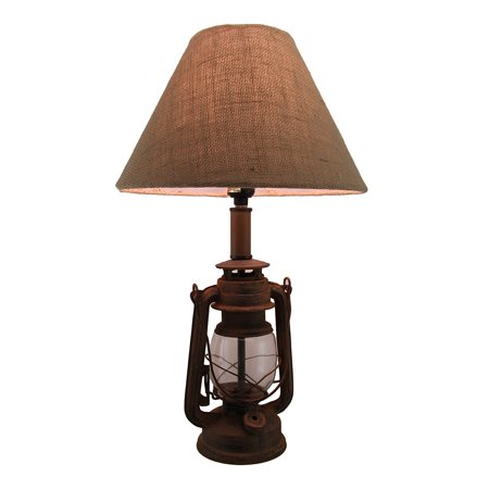 finish vintage style candle lantern lamp w burlap fabric shade 20 inch. Black Bedroom Furniture Sets. Home Design Ideas