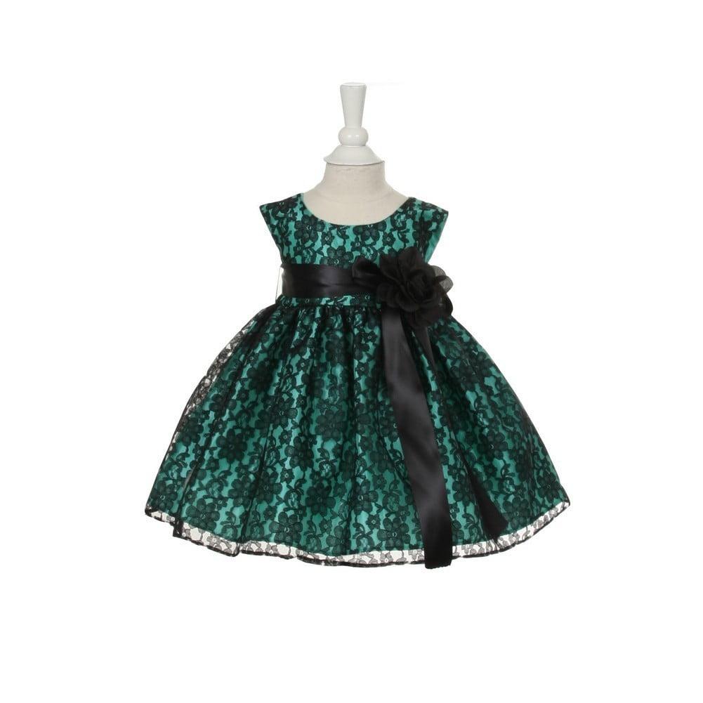 Baby Girls Blue Lace Black Sash Sleeveless Dress 12M