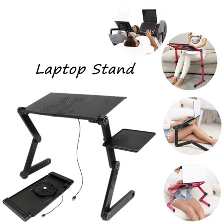 Adjustable Folding Laptop Notebook Desk Table Stand +Cooling Fan Bed Tray Holder, 23x10x1.5