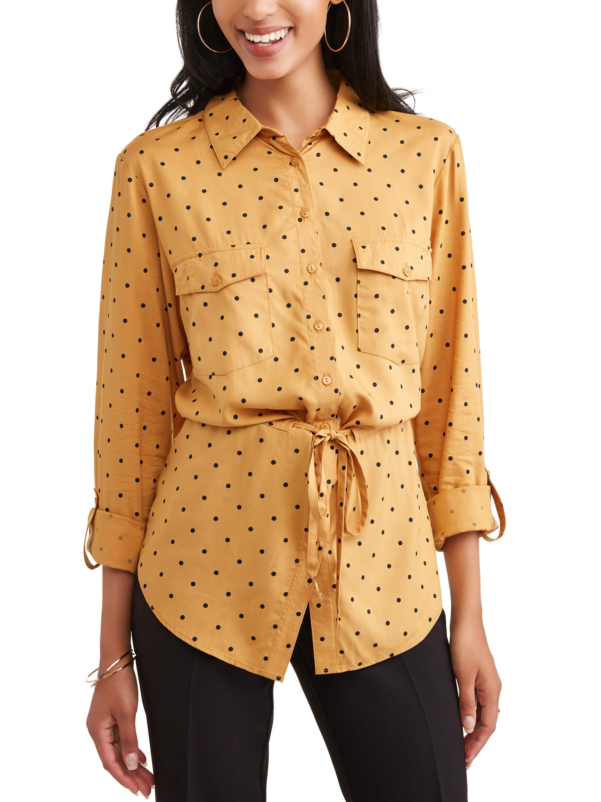 Alison Andrews Women's Roll Tab Sleeve Polka Dot Tunic Shirt by ALISON ANDREWS- 4_8