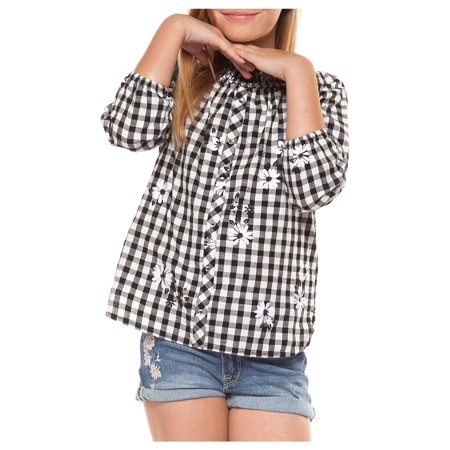24fae5f1e4b Dex - Girl s Printed Gingham Top - Walmart.com