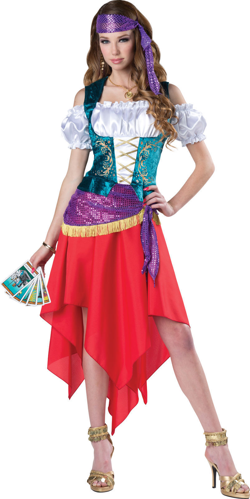 mystical gypsy adult womens halloween costume fortune teller dress sm xl