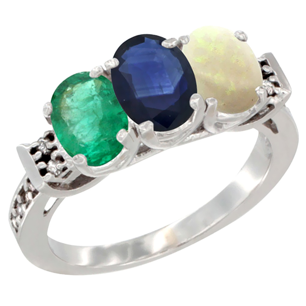 10K White Gold Natural Emerald, Blue Sapphire & Opal Ring 3-Stone Oval 7x5 mm Diamond Accent, sizes 5 10 by WorldJewels
