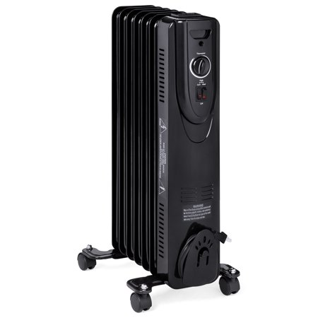 Best Choice Products 1500W Home Portable Electric Energy-Efficient Radiator Heater w/ Adjustable Thermostat, Safety Shut-Off, 3 Heat Settings - Black ()