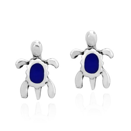 Tiny Sterling Silver Sea Turtles with Simulated Blue Lapis Stud Earrings