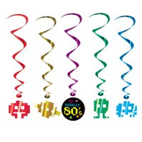 """Pack of 30 Assorted """"Totally 80s"""" Video Game Metallic Hanging Party Decoration Whirls 40"""""""