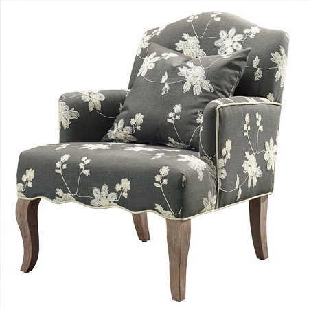 Linon Floral Arm Chair and Pillow, Gray Fabric, 18 inch Seat -