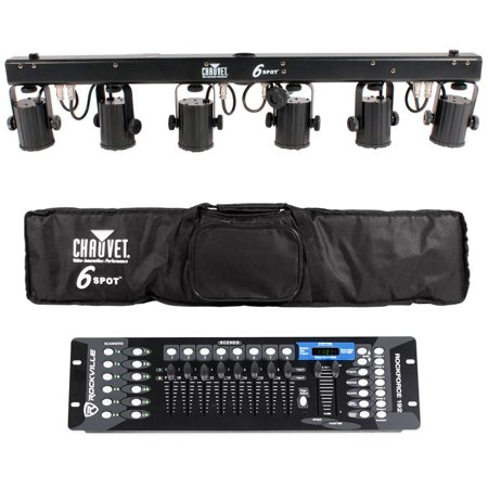 Chauvet DJ 6SPOT Portable LED Powered Color Changer System+Bag+DMX Controller