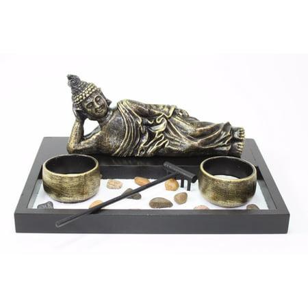 (Tabletop Zen Garden Sleeping Relaxing Buddha Rock Rake Candle Holder Home Decor)