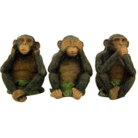 4 Resin Figurine (Three Wise Monkeys See Hear Speak No Evil Resin Figurines, 4)