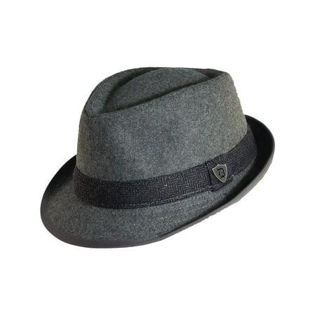 (Dorfman Pacific Men's Wool Blend Fedora Hat with Herringbone Band)