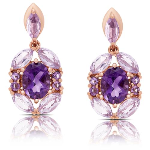 Dolce Giavonna Rose Gold Over Sterling Silver Amethyst Dangle Earrings