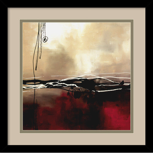 Amanti Art 'Symphony in Red and Khaki I' by Laurie Maitland Framed Painting Print