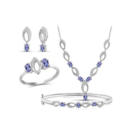 2 3/4 Carat T.G.W. Tanzanite And White Diamond Accent Sterling Silver 4-Piece Jewelry set
