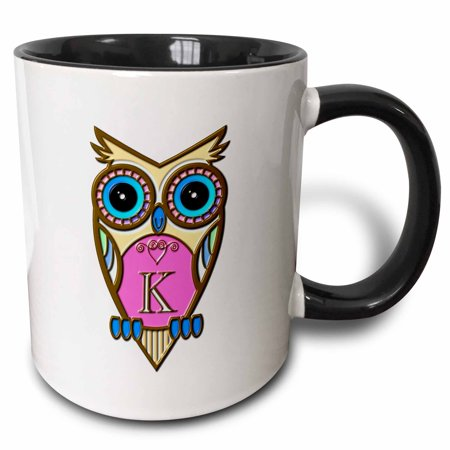 3dRose Gorgeous Pink and Blue Owl Monogram Letter K - Two Tone Black Mug, 11-ounce