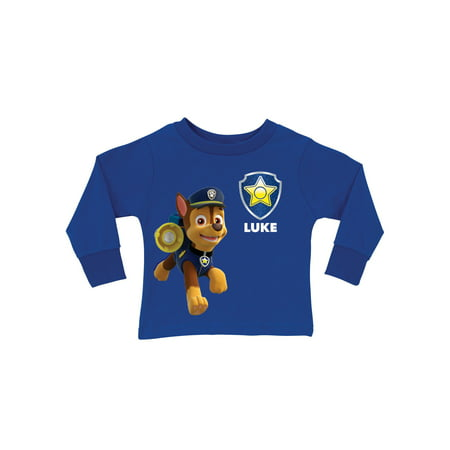 35d3558e PAW Patrol - Personalized PAW Patrol Chase Royal Blue Long Sleeve Boys' T- Shirt - Walmart.com