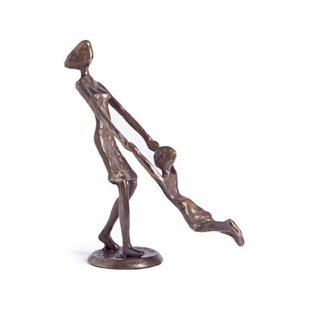 Child Bronze Figurine - Mother Playing and Swinging Child Cast Bronze Sculpture Figurine