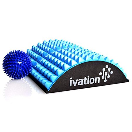 Ivation Lumbar Back Stretcher Device for Chronic Lower Back Pain - BONUS High Density Spiky Massage Ball