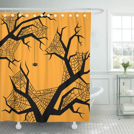 PKNMT Anger Halloween for Party Night Flat Design Autumn Back Bat Cartoon Carving Cat Waterproof Bathroom Shower Curtains Set 66x72 inch