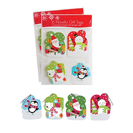 Pack of 32 Christmas Novelty Gift Tags w/ Googly Eyes 4 Different Designs - Juvenile - Novelty Christmas Gifts