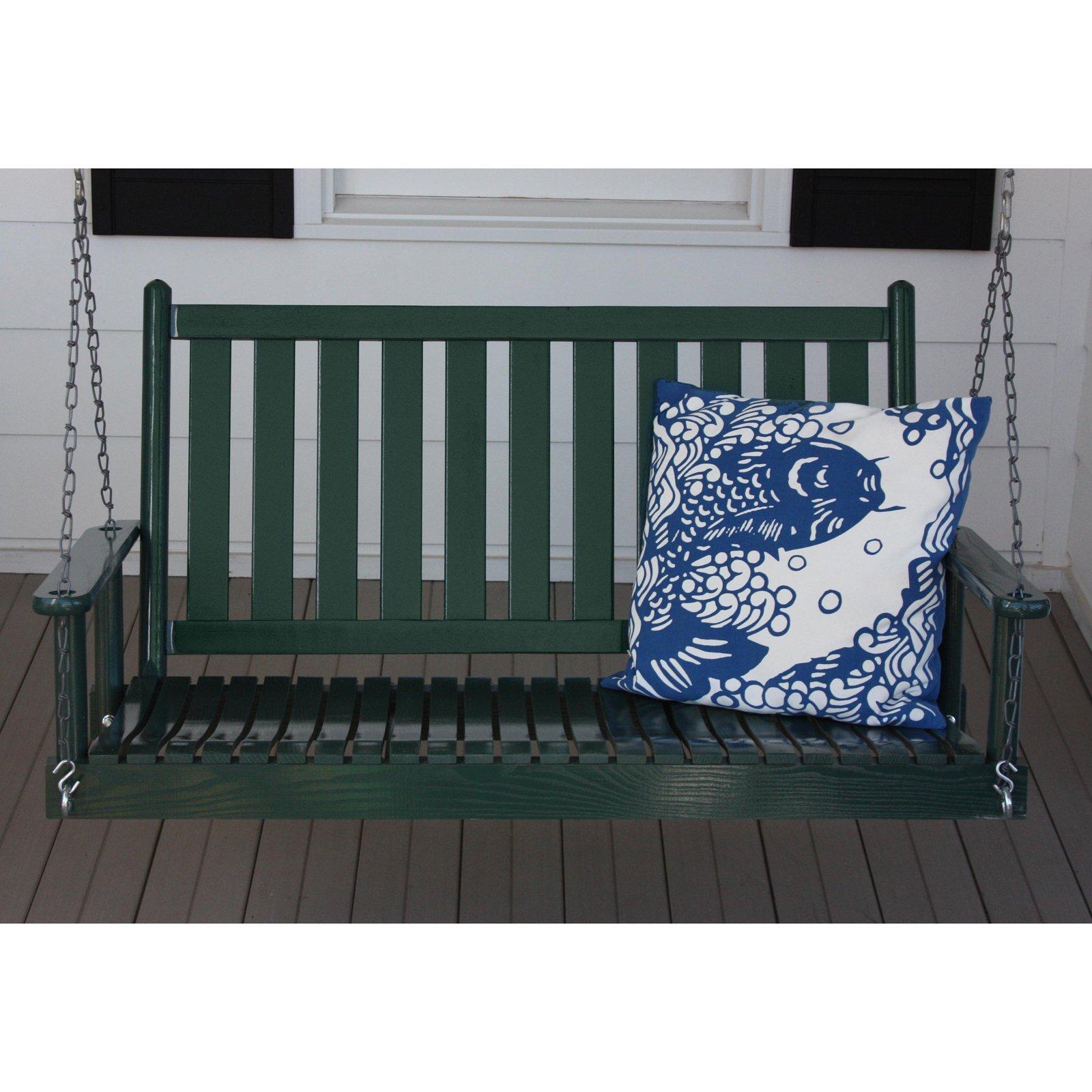 Dixie Seating 4 ft. Slat Back Wood Porch Swing