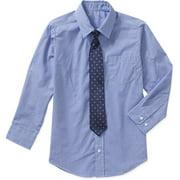 Boys Solid Broadcloth Shirt-Tie Set