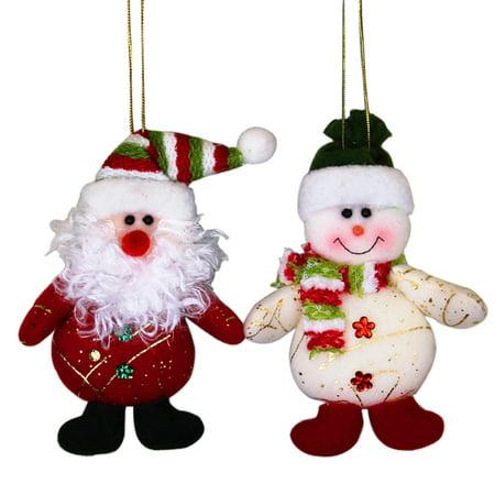 Christmas Tree Ornaments,Outgeek 2Pcs Cute Santa Claus Snowman Christmas Ornaments Decorative Hanging Ornaments Party Favors (Santa Handprint Ornament)