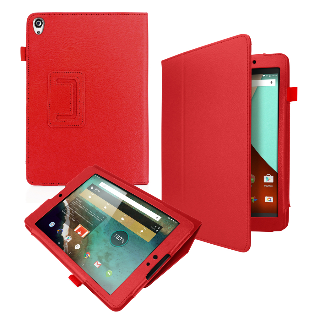 PU Leather Flip Case Stand Folio Cover Shell for Google Nexus 9 Tablet - Red