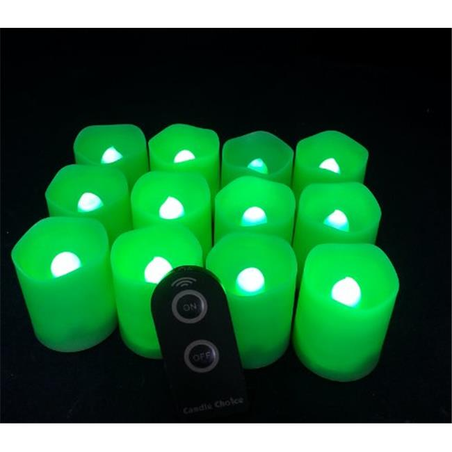 Candle Choice D38R-P1519M-G-12 Green Plastic Cover Simple Remote Control LED Amber-Color Votive Candle Light