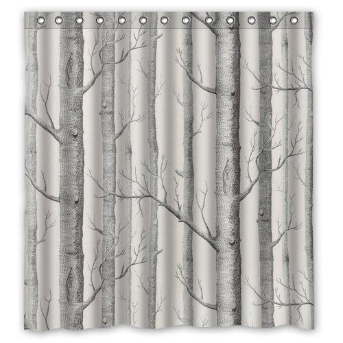 HelloDecor Birch Tree Shower Curtain Polyester Fabric Bathroom Decorative Curtain Size 66x72 Inches