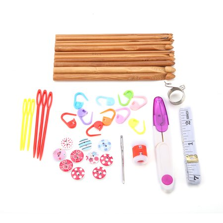 Yosoo 44Pcs Bamboo Circular Crochet Tube Sewing Needle Wood Knitting Tool Set, Crochet Set, Sewing Needle - image 2 of 6